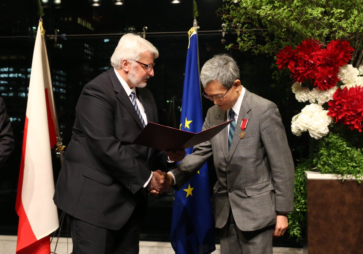 FM Waszczykowski presented the Bene Merito honorary distinction to Dr. Koichi Kuyama at the reception on the May 3 Constitution Day Tokyo.