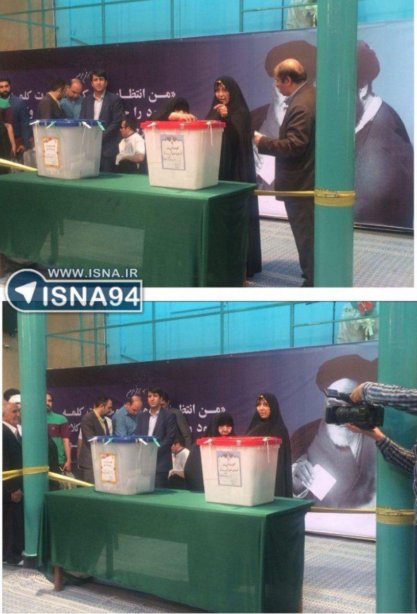 #Rafsanjani&#39;s widow Effat Marashi votes in #IranElections2017<br>http://pic.twitter.com/cMLCMReSOU