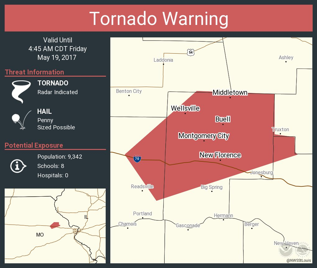 Tornado Warning including Montgomery City MO, Wellsville MO, New Florence MO until 4:45 AM CDT