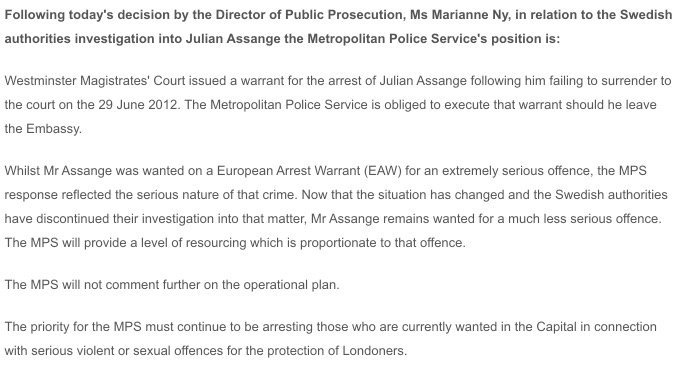 Statement by the MET police with regards to Julian Assange