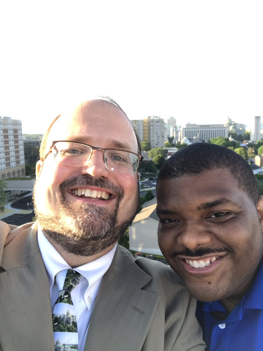 Selfie with @jamescrummel for #27Daybreak #TownTakeover atop the gorgeous 1500 building in Midtown #Harrisburg<br>http://pic.twitter.com/HbeijqHgUt