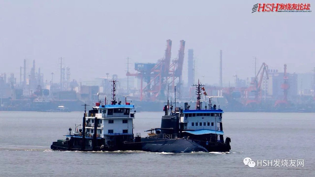 After six months' outfitting, 1st of three 039B subs building at Wuchang shipyard downed the Yangtze River for sea trials now