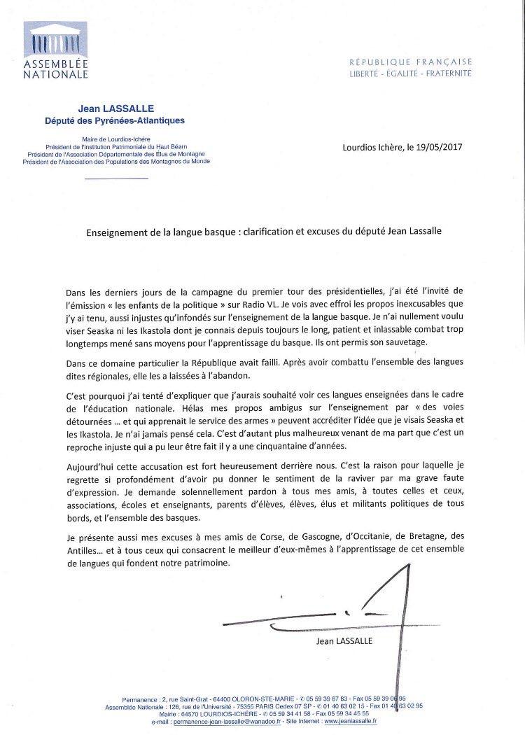 Communiqué de Jean Lassalle à propos de l'enseignement de la langue basque.  #Lassalle #JeanLassalle pic.twitter.com/x3sFOOmCi7