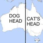 オーストラリアの地形を真ん中で区切ってみると!犬と猫の頭が出現!