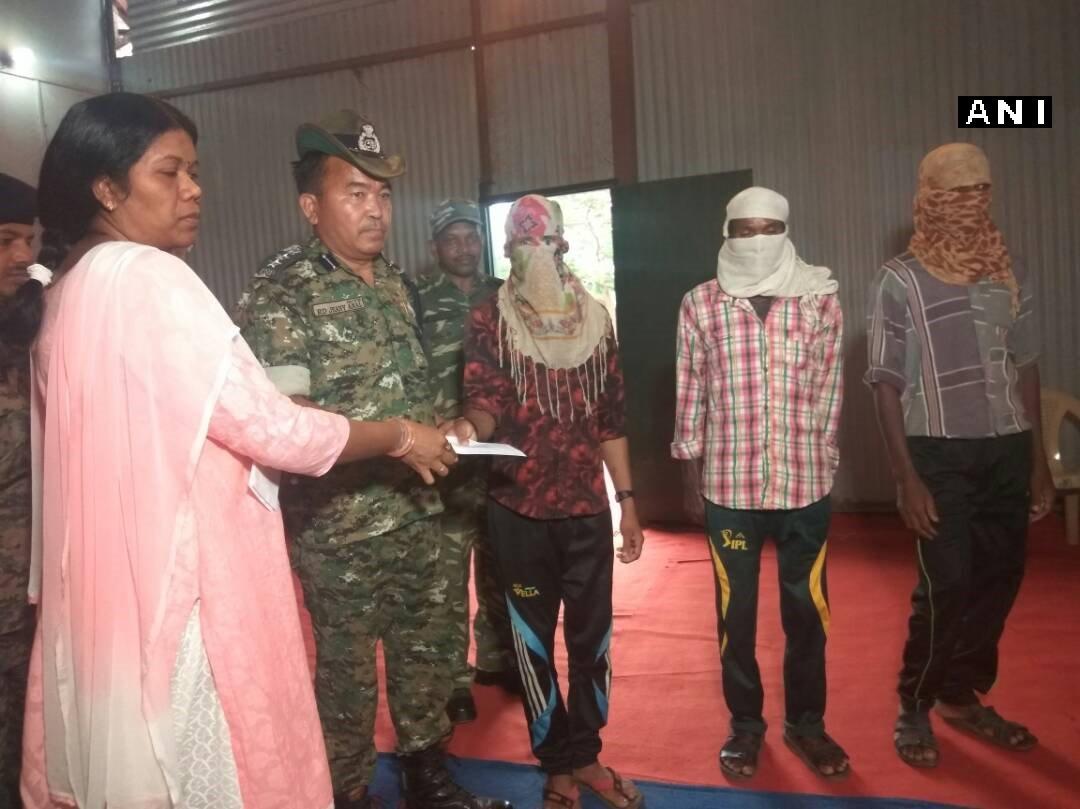 Chhattisgarh: Three Naxals (Jan Militia members) surrender before CRPF in Jagdalpur
