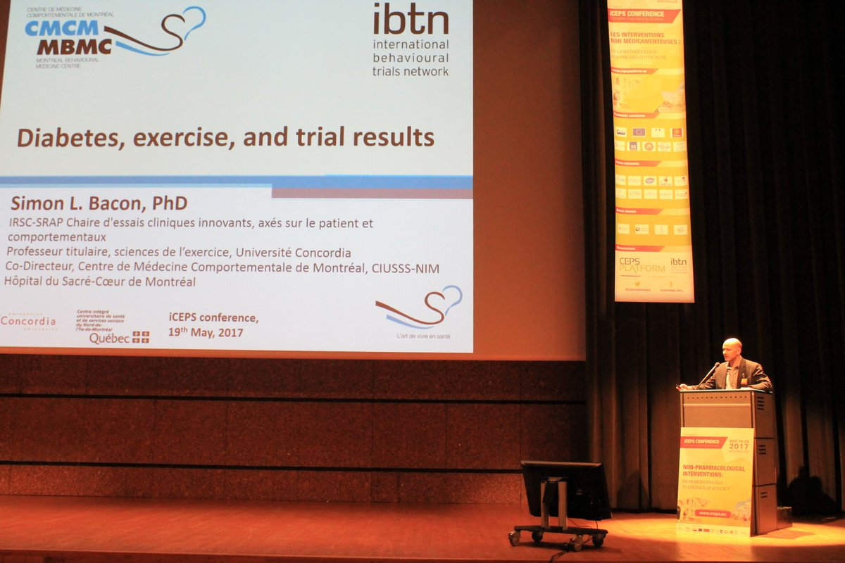 Simon Bacon presents diabetes, exercise and trial results at #iceps2017 #Montpellier @sbacon20 @IBTNetwork<br>http://pic.twitter.com/CeQ3CjMRbC