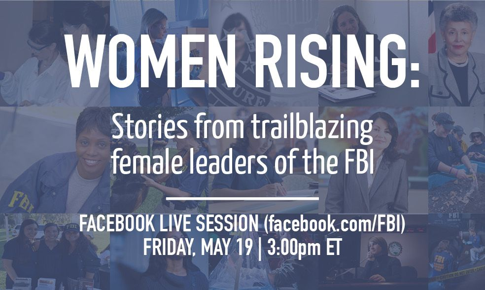 Today, a Facebook Live session at 3pm EST w/ women who have risen through the ranks of the #FBI. Ask Qs w/ #FBILive.  https://www. facebook.com/FBI/videos/101 55247105486212/ &nbsp; … <br>http://pic.twitter.com/1xHxJeGn6F