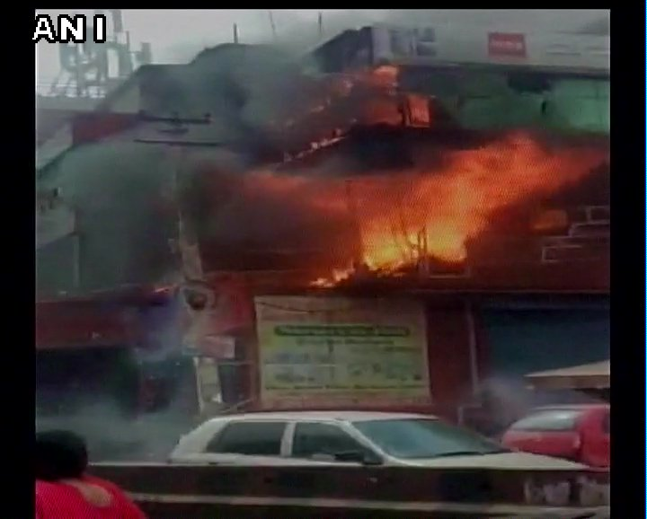 Fire breaks out at a furniture showroom in Gurugram. 6 fire tenders at the spot