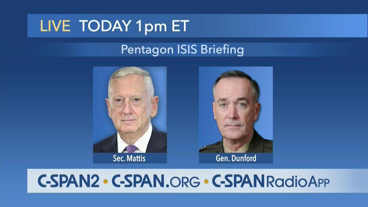 .@DeptofDefense Briefing with #SecDef Mattis &amp; @gendunford – LIVE at 1pm ET on C-SPAN2  http:// cs.pn/2qEF2cQ  &nbsp;  <br>http://pic.twitter.com/AjJk3xCdmZ