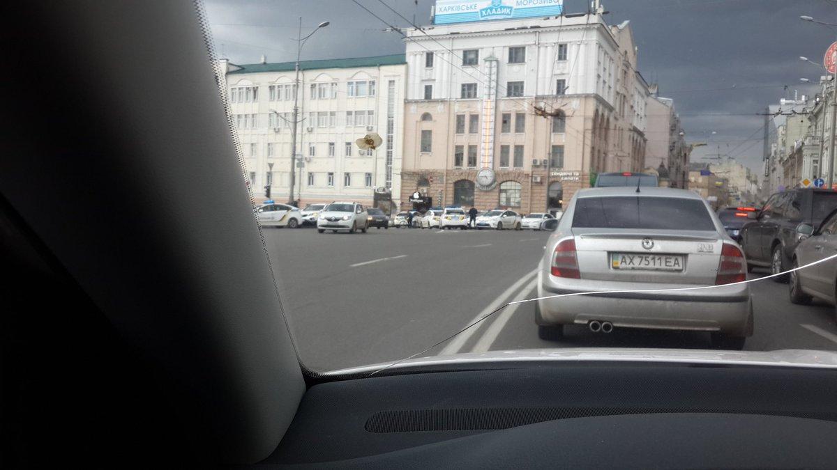 Heavy police presence in central Kharkiv