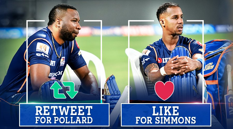Who will hit more sixes in our game tonight?  Retweet  for #Pollard Like  for Simmons #CricketMeriJaan #MIvKKR #MI <br>http://pic.twitter.com/kH8swkI659
