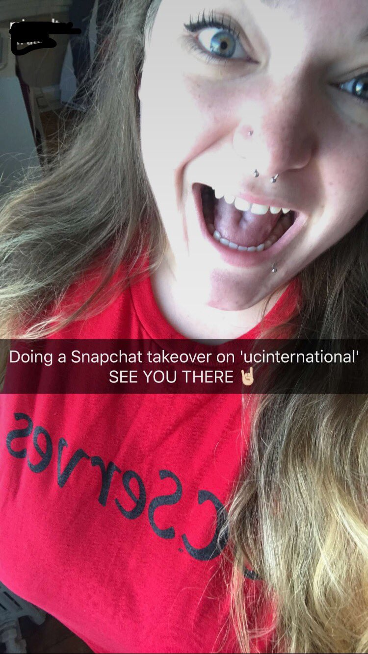 Our friend Caitlyn from International Admissions is taking over Snapchat for #UCServes! 👻 #UCtheWorld https://t.co/2FfihPzUhd