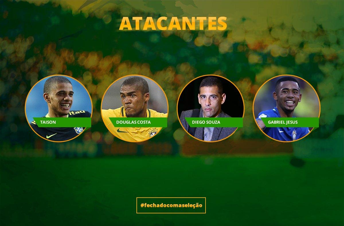 ATACANTES: Taison, Douglas Costa, Diego Souza e Gabriel Jesus #FechadoComASeleção