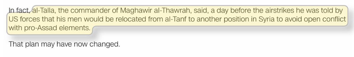 DoD-backed Maghawir al-Thawra just confirmed to @hxhassan no reversal yet to the request to relocate from al-Tanf