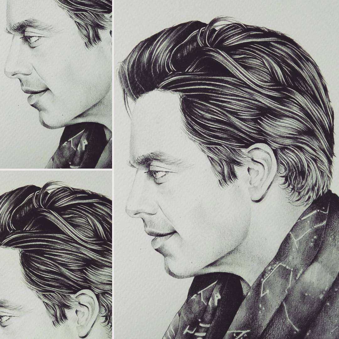 I&#39;m so busy. Hard to find time to draw. Here&#39;s another look at this #pencil #drawing #portrait #SebastianStan #profile #drawinghair <br>http://pic.twitter.com/OxYfViIT23