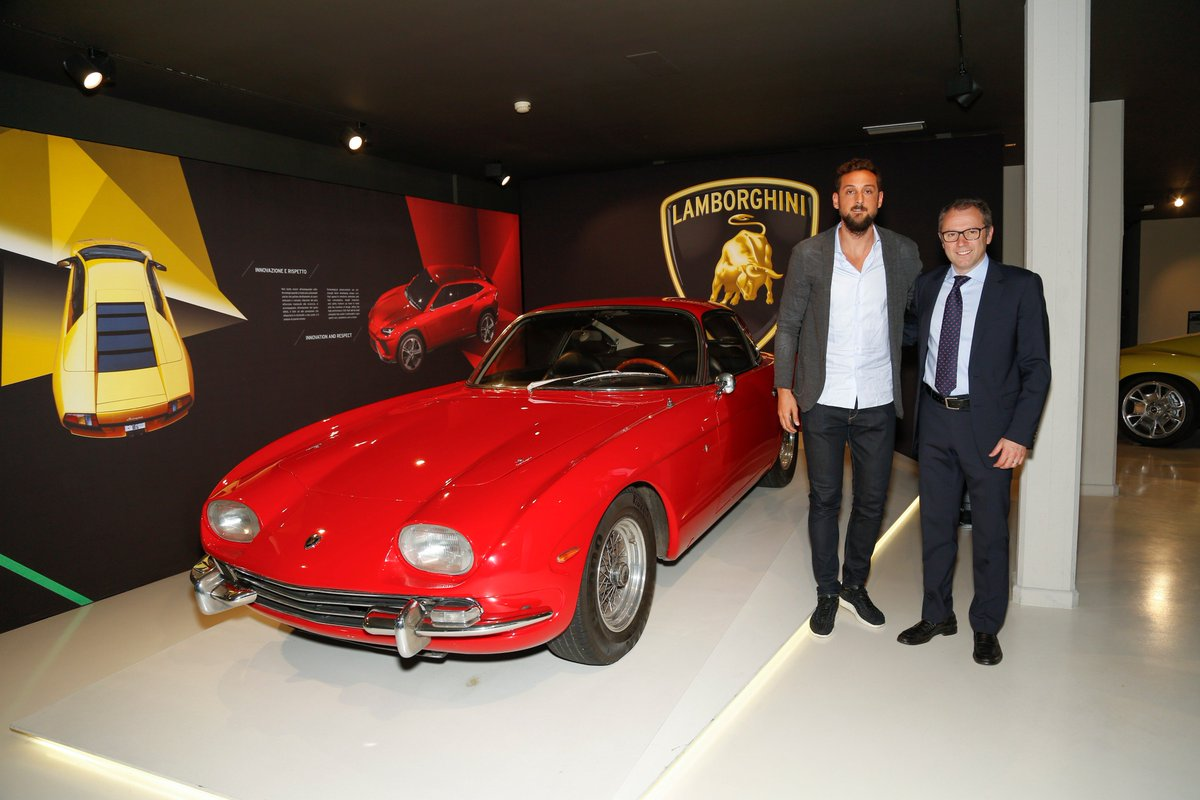 Today @MarcoBelinelli was welcomed by our Chairman & CEO Stefano Domenicali. #Lamborghini