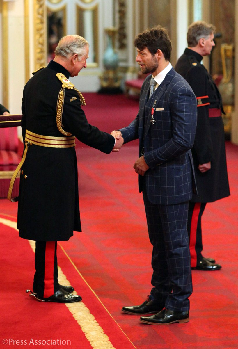 The Prince of Wales also awarded #Rio2016 Olympic gold medallist @tom_ransley with an #MBE at Buckingham Palace for his services to rowing.