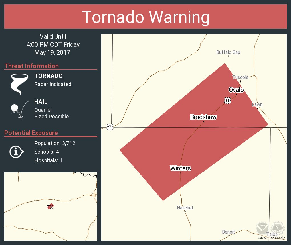 Tornado Warning including Winters TX, Ovalo TX, Bradshaw TX until 4:00 PM CDT