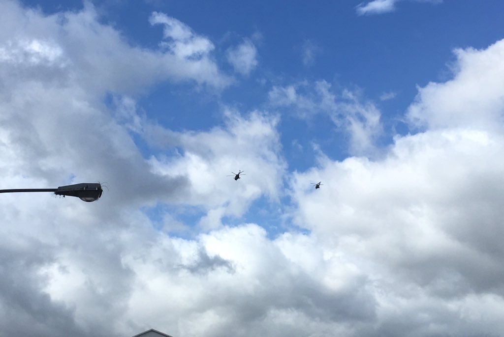 Military helicopters are flying over San Cristobal all the day