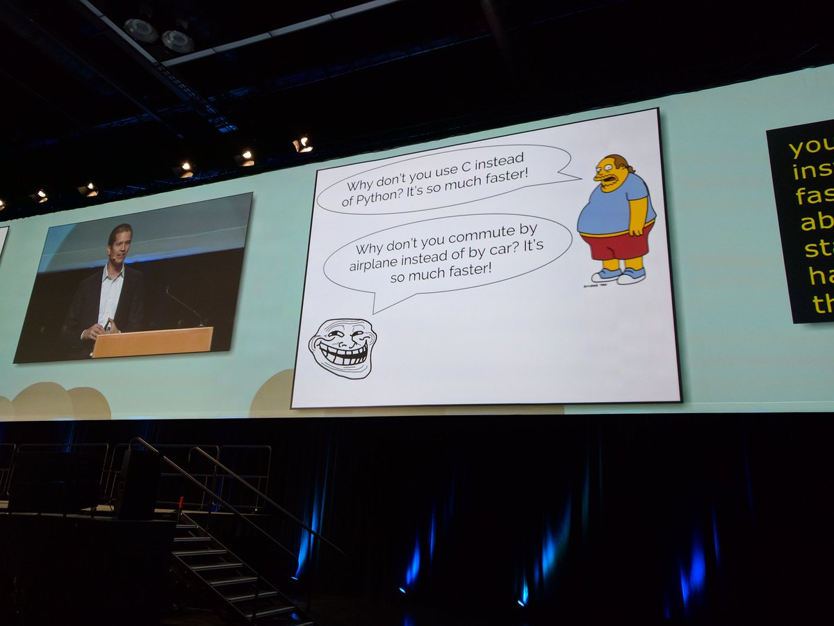 Lol! @jakevdp says, &quot;Why don&#39;t you commute by plane instead of car? It&#39;s so much faster.&quot; Rocking opening @pycon keynote! #pycon2017 <br>http://pic.twitter.com/lAH4KFV6zV
