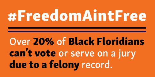 .@FLGovScott revoked the automatic restoration of civil rights for nonviolent offenders, including the right to vote. #FreedomAintFree <br>http://pic.twitter.com/IqzBJMt76W
