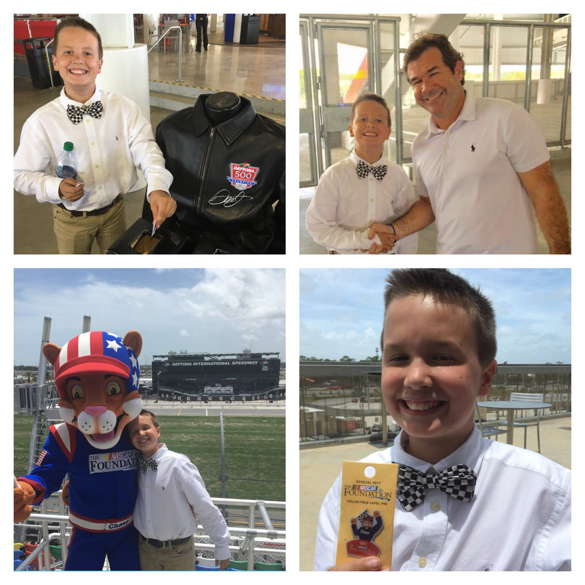 Fun lunch @DISupdates for #NASCARDay. Met Mr. Chitwood &amp; Chase the @NASCAR_FDN mascot. Now need to get lucky to win the @DaleJr ️ jacket!<br>http://pic.twitter.com/u5whr098Bn &ndash; à Daytona International Speedway
