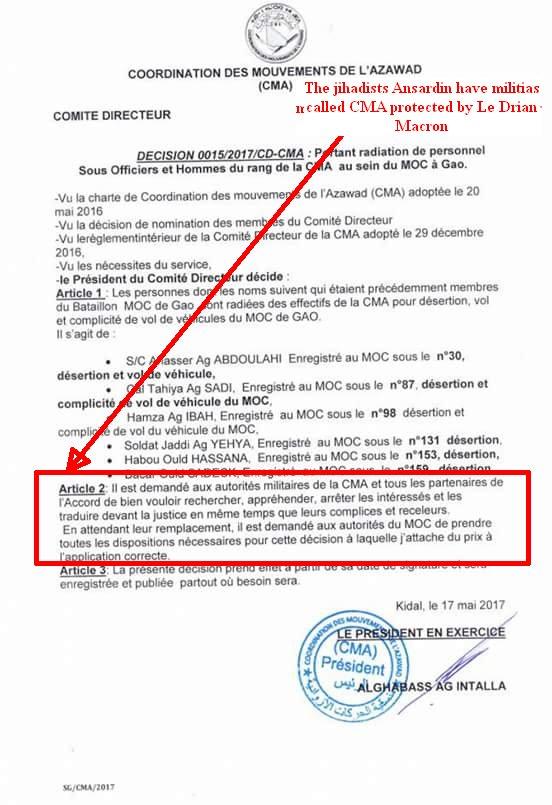 #Breaking #AlghabassAgIntalla ex-spokesman #jihadists #Ansardine orders interpellation #Gao robbers during #Macron #LeDrian&#39;s visit in #Mali<br>http://pic.twitter.com/RBtkxGde1I