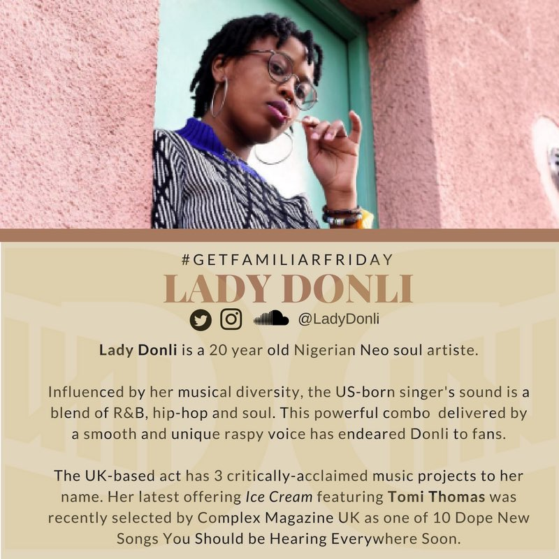 #Friyay!!! #GetFamiliarFriday We&#39;ve just gotta take a moment to get familiar with @LadyDonli  Dropping her video in a bit!!!<br>http://pic.twitter.com/Iq6nk7w7Ki