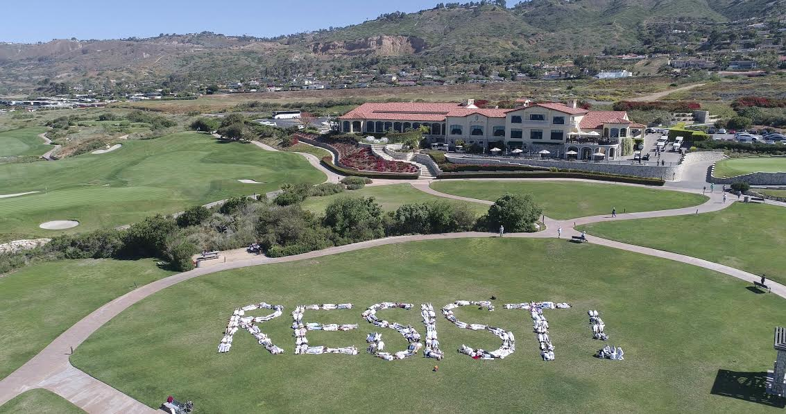 SO AWESOME!   200 members of @indivisible_sp form the word RESIST in Trump Golf Course, Rancho Palos Verdes, CA  Retweet! #FridayFeeling <br>http://pic.twitter.com/LOQ1N3Kah6
