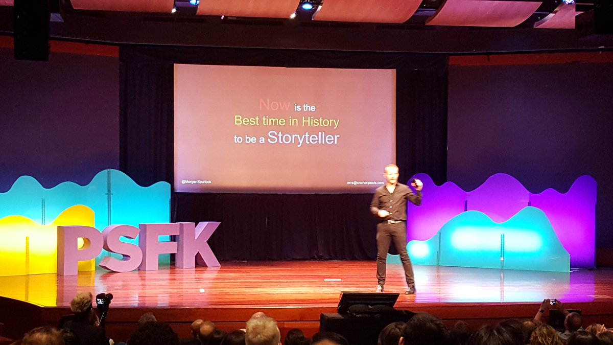 .@MorganSpurlock Now is the best time to be a storyteller, you have some many places to them #PSFK2017 <br>http://pic.twitter.com/y6rzua8sIV