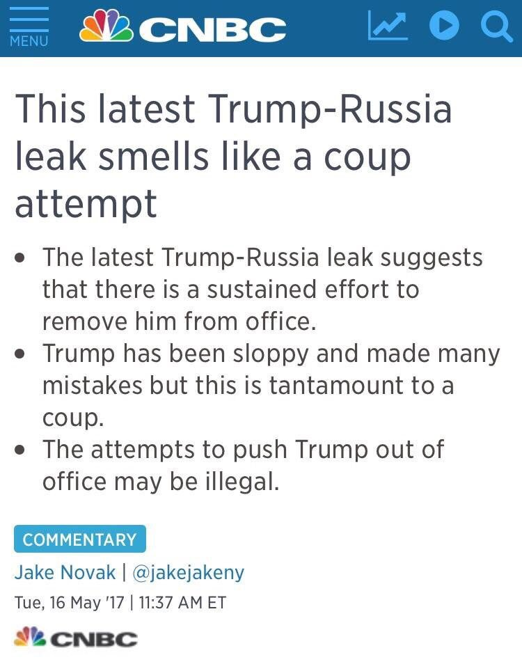 #FridayFeeling  Looks like Democrats are trying to stage a coup, no?   http://www. cnbc.com/2017/05/16/thi s-latest-trump-russia-leak-smells-like-a-coup-attempt-commentary.html &nbsp; … <br>http://pic.twitter.com/iU22b71rMT