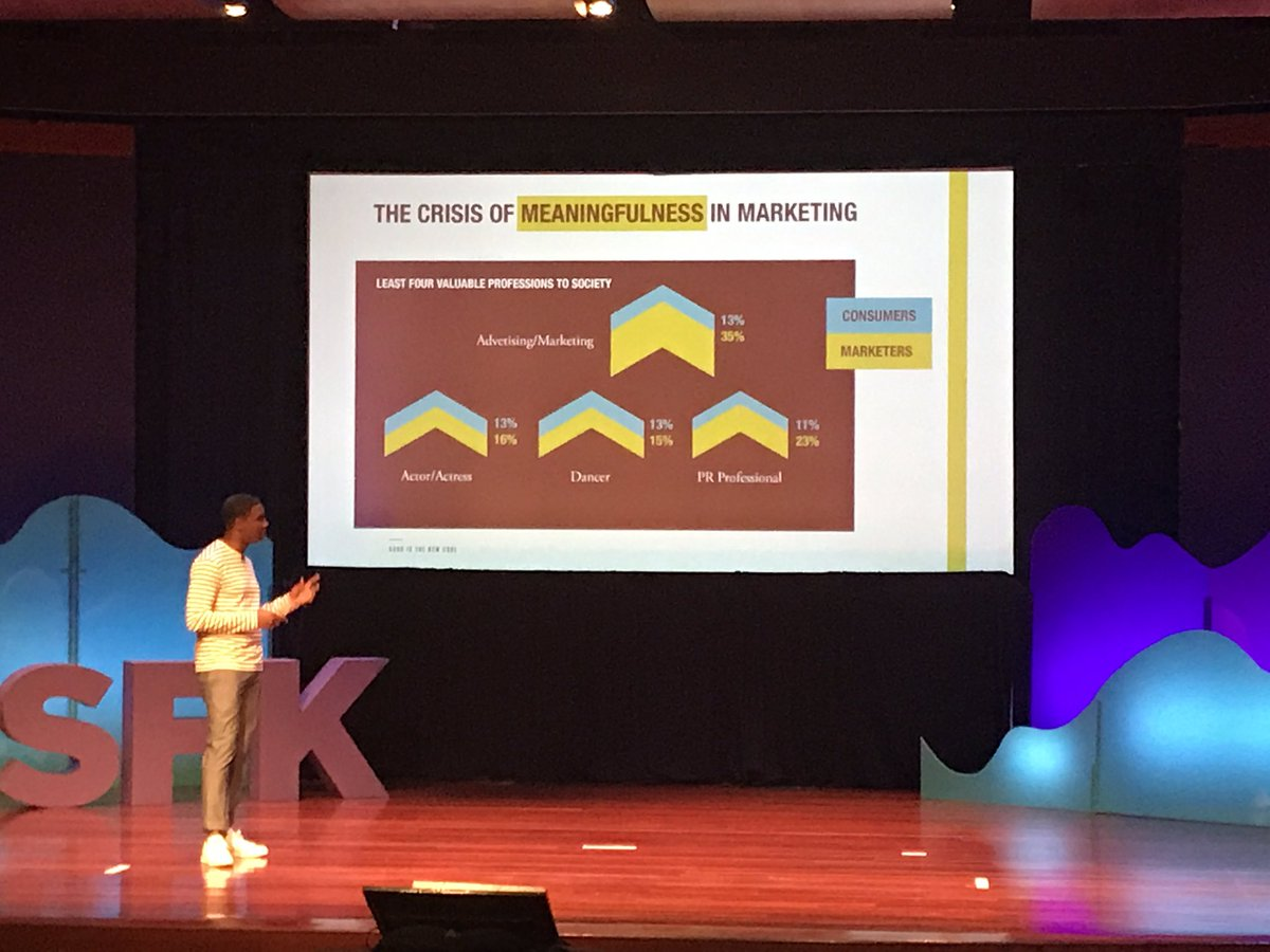 Interesting view about the crisis of meaninfulness in marketing. Bobby Jones author of Good is the new cool #PSFK2017 NY <br>http://pic.twitter.com/zX9isROD2E