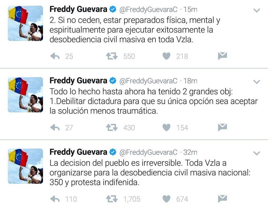 MP Freddy Guevara calls for the massive civil disobedience: Ask for invoking of article 350 of the Constitution