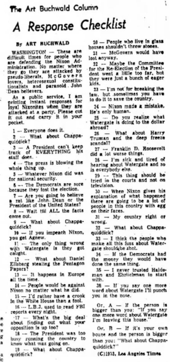 Art Buchwald for the @latimes in 1973. The playbook hasn't changed. https://t.co/moMNDXxv6L