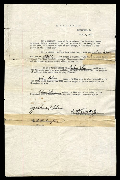 #Spotlight Homestead Grays - #Friday Memorabilia - 1932 Josh Gibson Contract paying him $275 - Use Grays save 20%  http:// bit.ly/2pHlHtP  &nbsp;  <br>http://pic.twitter.com/wQSNAEvgcO