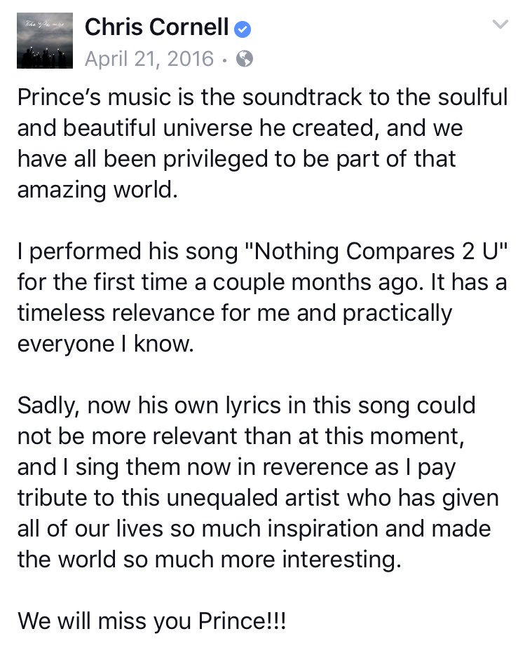 I remember the first time I heard his cover ... It was last April when he also wrote this. #RIPChrisCornell #RIPPrince <br>http://pic.twitter.com/9h4i4CrHGY