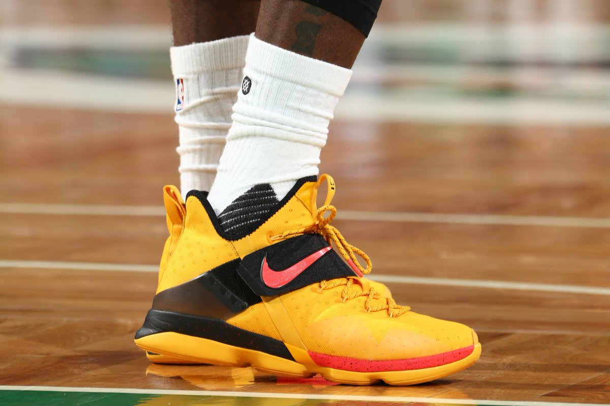 4ff451c21c6 solewatch   kingjames wearing a nike lebron 14 pe in game 2 ...