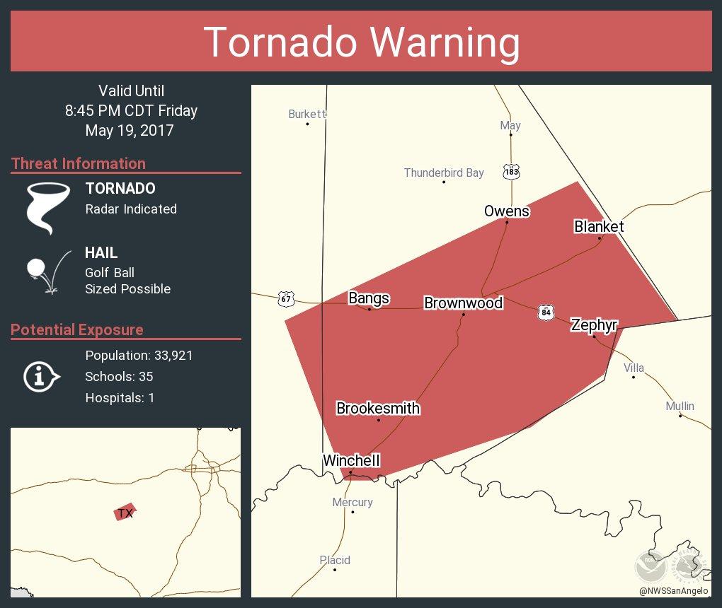 Tornado Warning including Brownwood TX, Early TX, Bangs TX until 8:45 PM CDT
