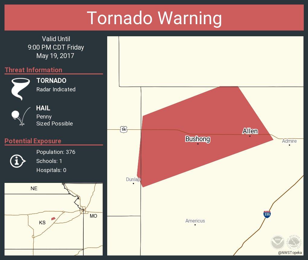 Tornado Warning including Allen KS, Bushong KS until 9:00 PM CDT