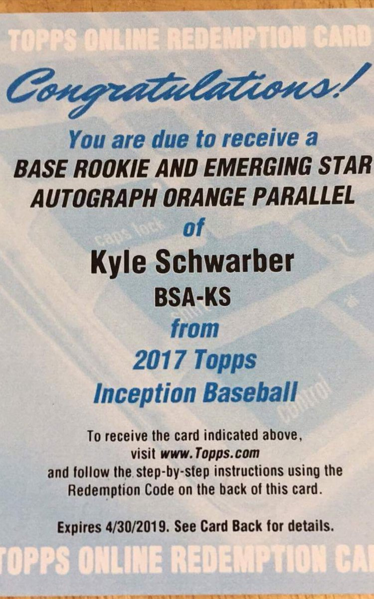 Redemption from 17 @Topps Inception  at our Roseville location: base rookie &amp; orange parallel Kyle Schwarber auto! #Hits #supportyourlcs<br>http://pic.twitter.com/9gFXdfvXZW