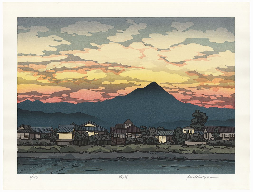 &quot;#Sunset&quot; by #Nishijima (born 1945); #Japanese #woodblock #print Available@:  https://www. fujiarts.com/cgi-bin/item.p l?item=701314 &nbsp; …   #japan #art #ukiyoe #beautiful #scenic<br>http://pic.twitter.com/NPh6vef39E