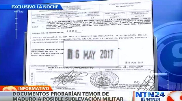 Recent documents showing fear of Venezuelan president of a possible military uprising