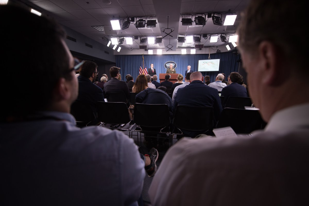 #SECDEF Mattis, @GenDunford, @brett_mcgurk held a jnt presser today on the defeat of ISIS...huge global Coalition effort of 65 nations!<br>http://pic.twitter.com/60r1OmI9gR