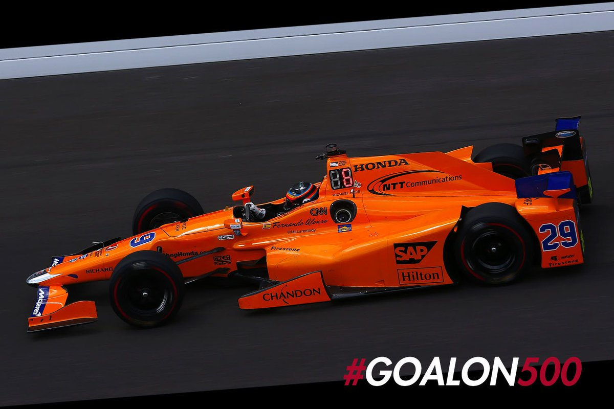 The  is out for #FastFriday . Delays due to  but still some great running. @alo_oficial finishes P4 again with a 231.827mph #GoAlon500<br>http://pic.twitter.com/DVHJx1JVwG