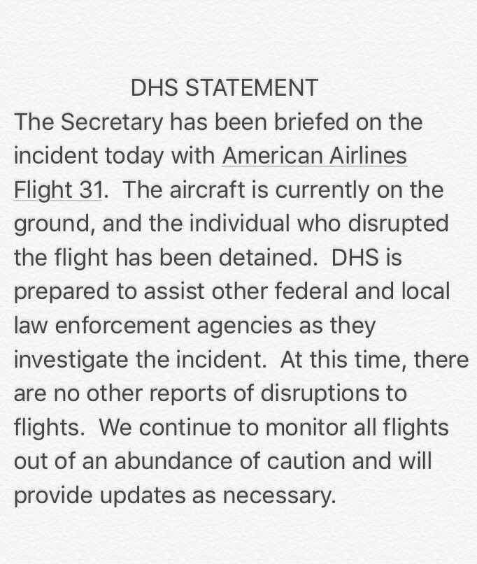 .@DHSgov Statement on incident flight #flight31 LAX to  Honolulu: