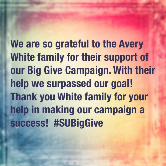 We are so grateful/appreciative 2 Avery White Family. Because of you we surpassed our Big Give Campaign goal! @Sports_Biz_Prof #SUBigGive <br>http://pic.twitter.com/2wyz7t6f9S