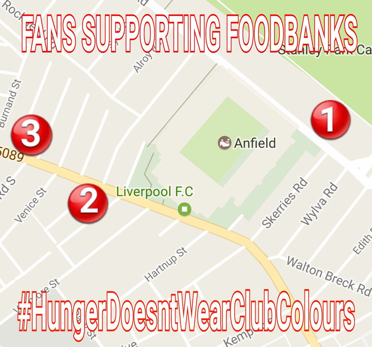 Fans Supporting Foodbanks On Twitter At Theanfieldwrap Here