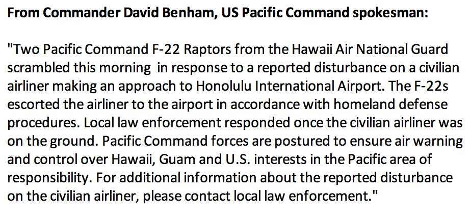 2 F-22 fighter jets escorted American Airlines Flight 31 to Honolulu Int'l Airport due to disturbance on board, Pacific Command says