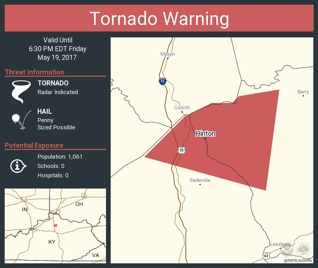 Tornado Warning including Hinton KY until 6:30 PM EDT