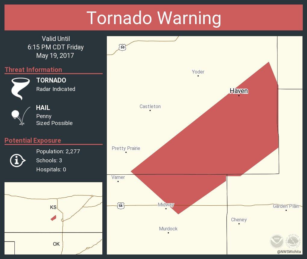 Tornado Warning including Haven KS until 6:15 PM CDT